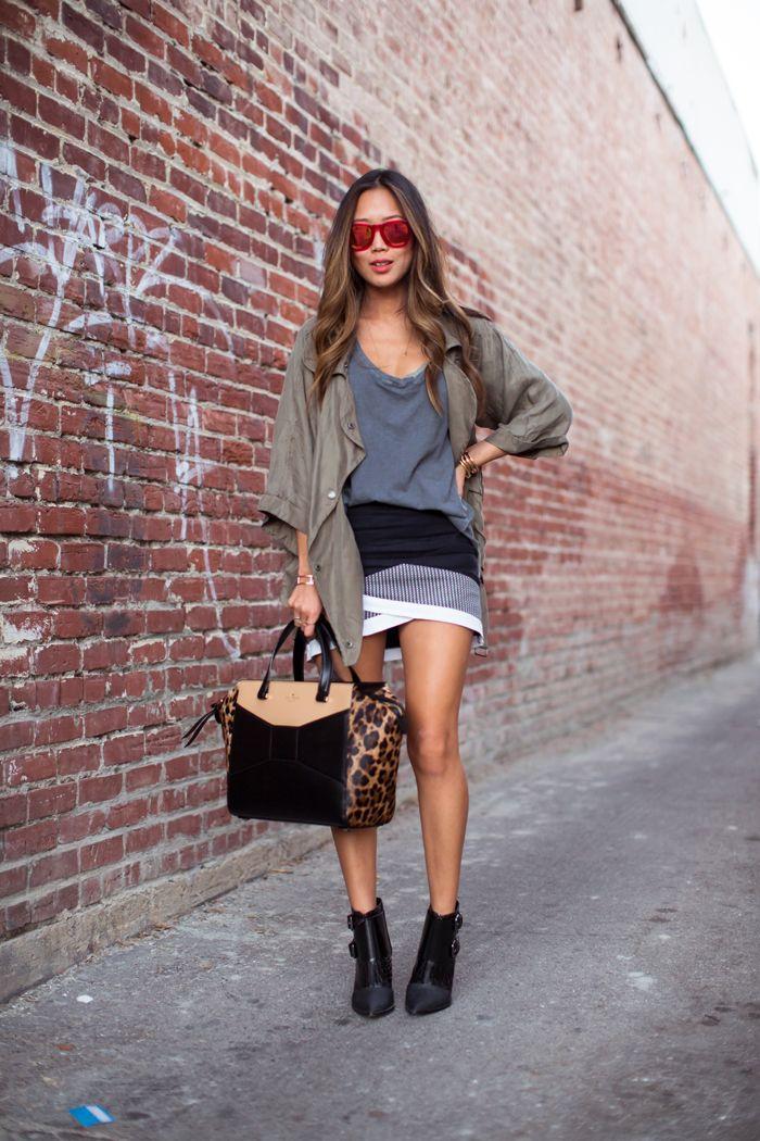 army jacket, tibi boots, wrap skirt, and kate spade beau bag. xoxo