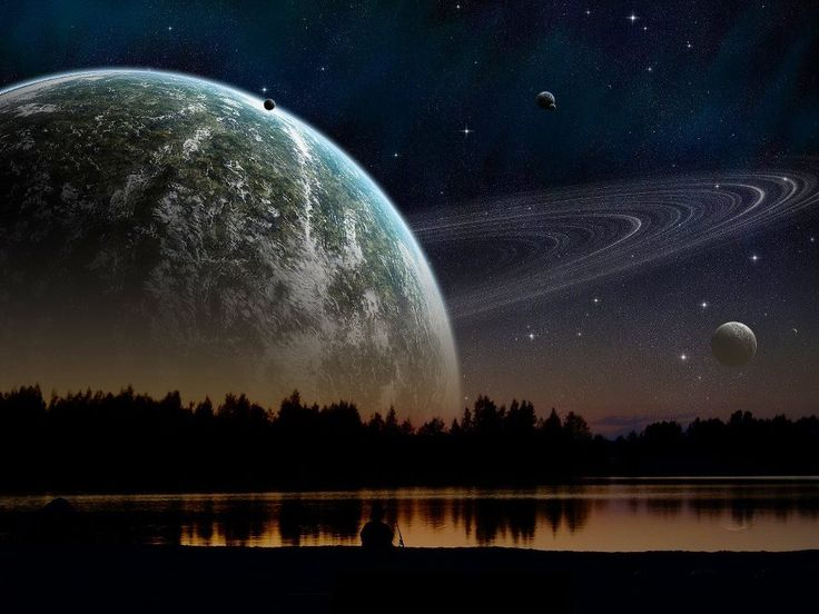 If Saturn were as close to the Earth as the Moon is, this is how it would look.
