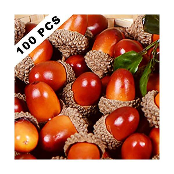 Yarssir 100 Pieces Craft Acorns Artificial Acorn Decor Fake Fruit Props Acorns Decoration Crafting DIY Home Party Wedding Decor Thanksgiving Christmas Festival Dark Brown-100 Pack 2 Colors