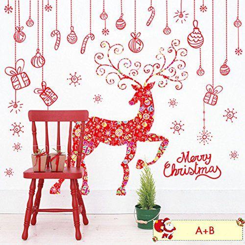 GEEDIAR Stickers Muraux Girafe Rouge de Noël Murale Sticker Mural Autocollant: Décorez les murs ou les fenêtres de la maison, salle de…