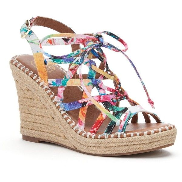 SO® Women's Lace-Up Espadrille Wedge Sandals ($25) ❤ liked on Polyvore featuring shoes, sandals, multicolor, elastic-strap sandals, lace up sandals, espadrille wedge sandals, strap sandals and strappy lace up sandals