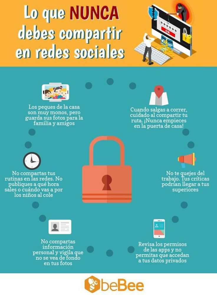 Una infografía con 6 consejos en relación a las publicaciones que nunca debes compartir en las Redes Sociales, para preservar tu seguridad y privacidad.