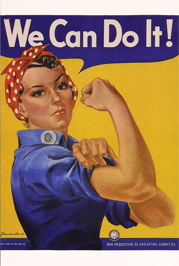 Homefront: Vintage Military WWII WW 2 World War 2 We Can Do It Postcard. This is a propaganda poster saying that women can do this. We can take charge and help lead this country.