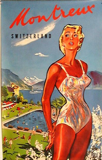 Travel poster by Pierre-Laurent Brenot (1913-1998), 1950's, Montreux Switzerland.