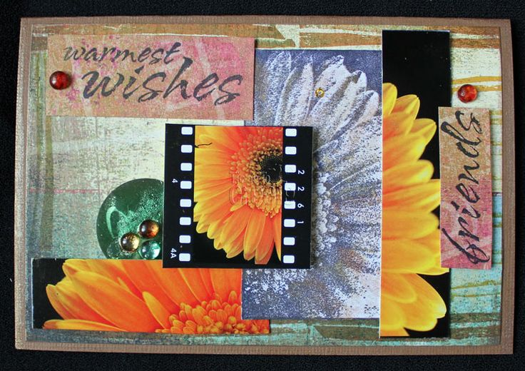 Slicing coloured images and adding stamping in a patchwork style.