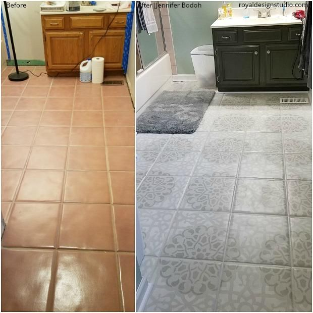 The Best Before After Stencil Projects Painting Ceramic Tile Floor Painting Tile Floors Tile Floor