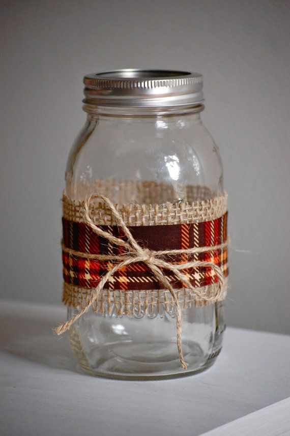 Plaid fabric mason jar fall wedding decor shabby by HeidieWithAnE, $6.25