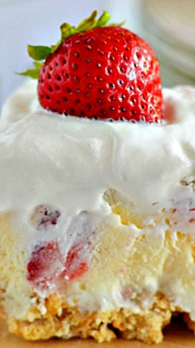 Strawberry Cheesecake Lush Recipe ~ With layers of cream cheese, Cool Whip, cheesecake pudding and fresh strawberries, this easy layered dessert will quickly become your new favorite summer dessert!