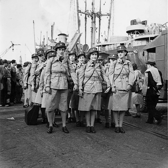 Canadian Women's Army Corps Unit arriving in Italy, c. 1944 ~