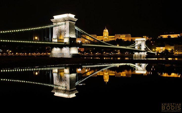Budapest | Reflection - Széchenyi Chain Bridge & Buda Royal Castle. credit: Krisztian Bodis