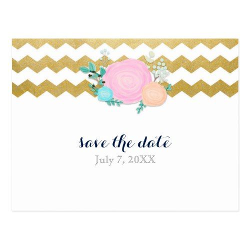 White & Gold Chevron Floral Garden Save The Date Postcard