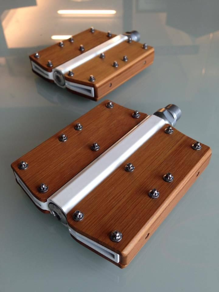"""Bamboo bicycle bike pedals wood wooden cycle velo 9/16"""" pedal vintage design"""