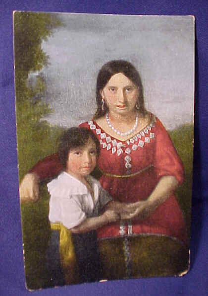 This Sedgeford portrait of Pocahontas and her 2 year old son namedThomas Rolfe. THis painting is said to becarefully preserved through the centuries, although its travels and whereabouts have been been shrouded in mystery. Presently it is reported to be at Kings Lynn Museum. Age 21.