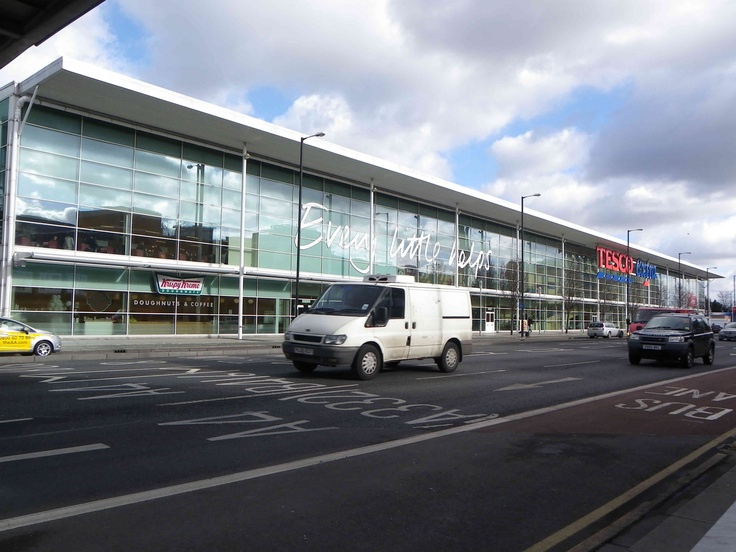 Outside of Tesco store, Slough.  It's a big building for Slough, and it has a big emotive impact on the High Street,