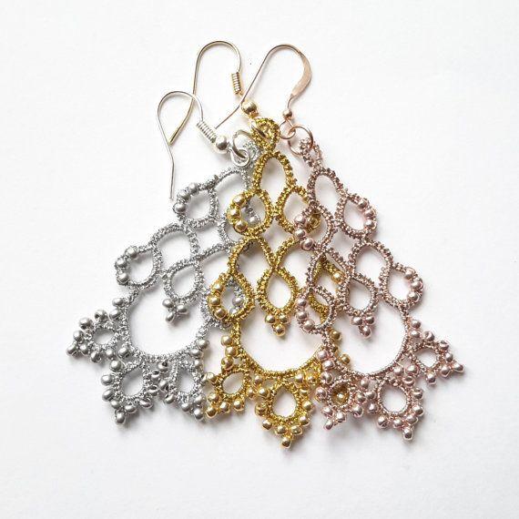Funkelnde occhi Ohrringe | Leuchter Silber gold Rosegold tatted Spitze Schmuck made in Italien | Frivolitè | leichte filigrane Ohrringe