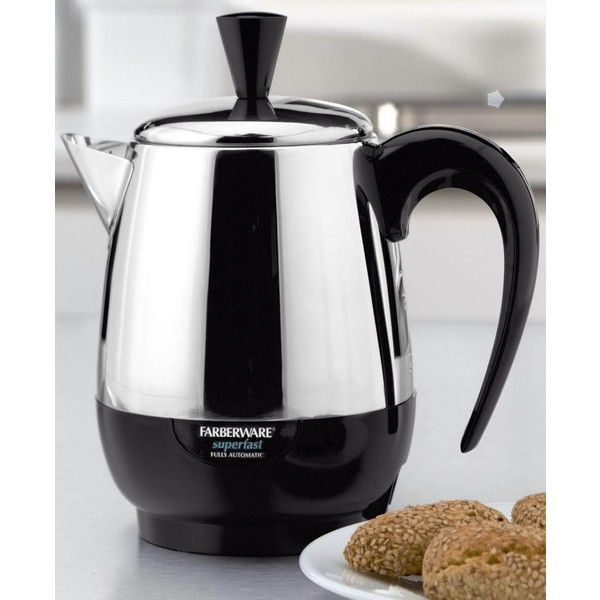Farberware FCP240 Percolator 2-4 Cup ($50) ❤ liked on Polyvore featuring home, kitchen & dining, small appliances, farberware coffee maker, farberware, stainless coffee maker and stainless steel coffee maker