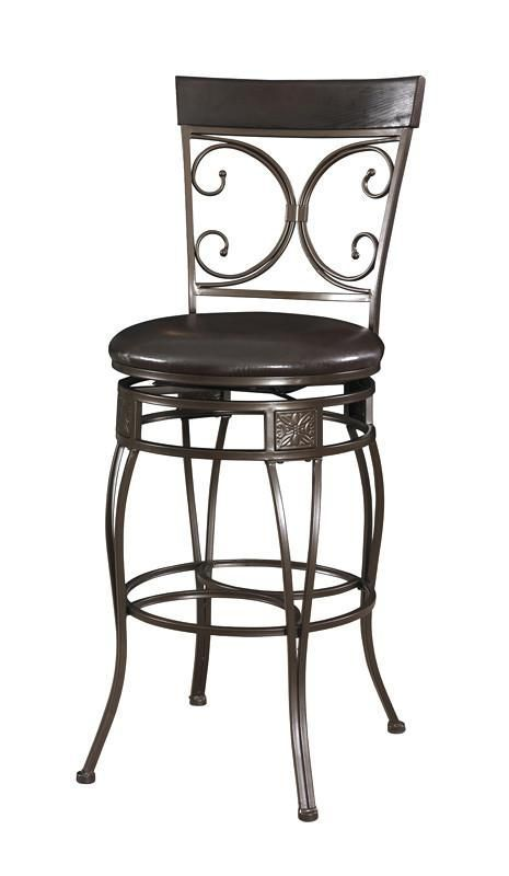 Powell Big and Tall Back to Back Scroll Barstool. The Big and Tall Back to Back Scroll Barstool has a classic design and style. The stool has a dark bronze metal finish and a dark brown upholstered seat. Designed to suit people large and small, the seat is a generous size for optimal comfort. The tall back features a double scroll design, while the curvy bottom is accented with square, textured details. Perfectly suited for a kitchen bar or high top table.  * The stool has a classic design…
