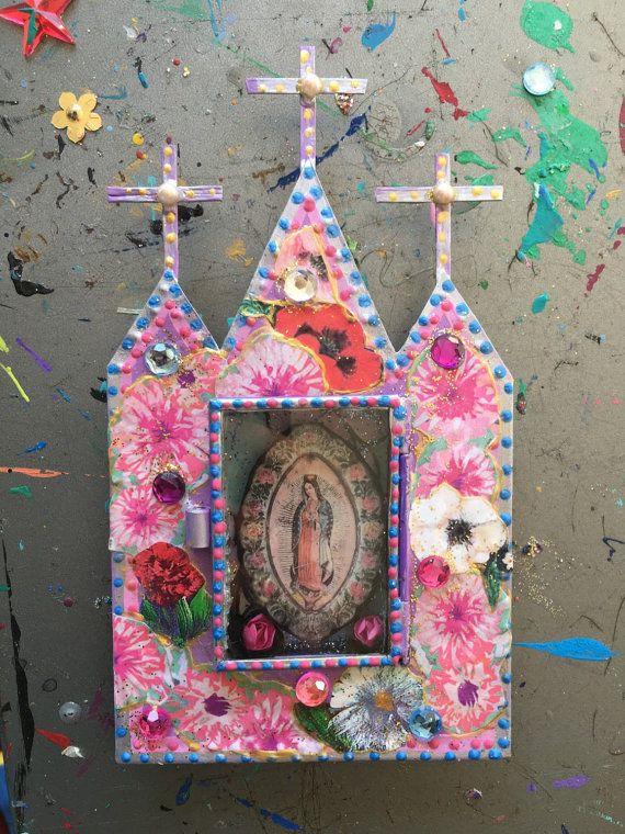Mexican tin metal nicho shrine shadowbox/ sacred by TheVirginRose