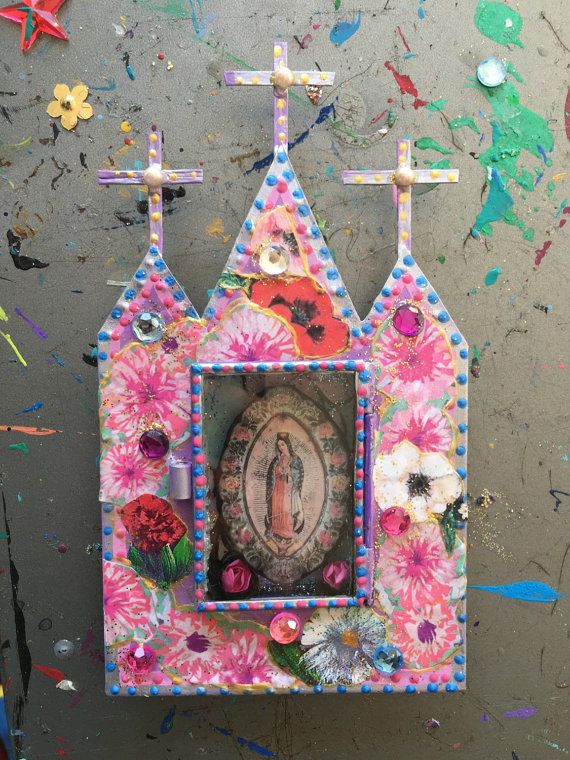 Mexican tin metal nicho shrine shadowbox/ sacred by TheVirginRose