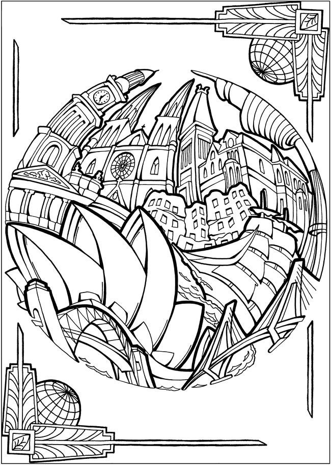 BLISS CITIES Coloring Book: Your Passport to Calm by: David Bodo - Coloring Page 7