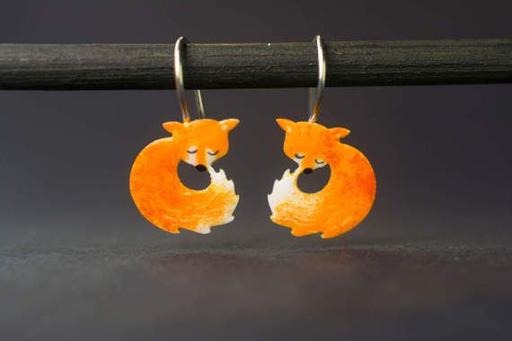 Hand-painted Little Fox Stud Earrings Stainless by CinkyLinky