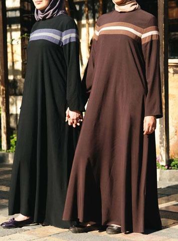 A Sporty, casual Abaya from SHUKR: Striped Flared Abaya