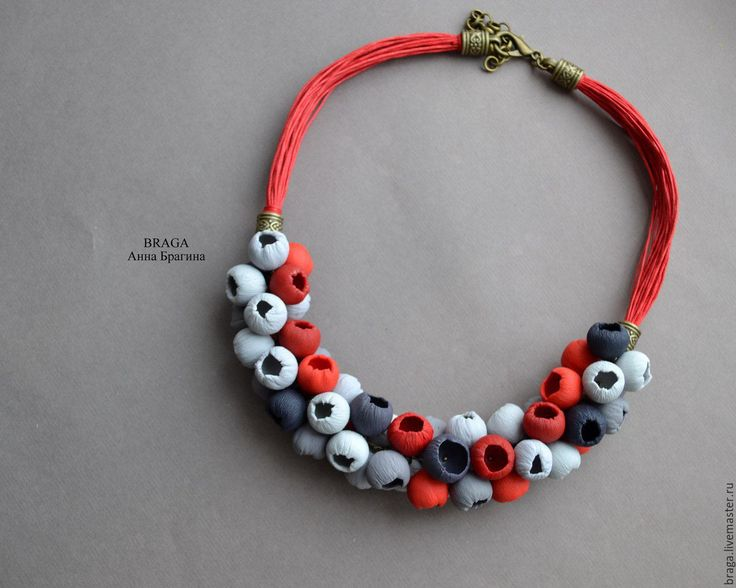 Купить Колье-бутоны в серо-красной гамме - ярко-красный, серый, красно-серый