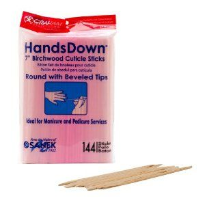 """Graham HandsDown Beauty Product 7"""" Birchwood Cuticle Sticks Nail Salon 144 Count by Graham Professional. $5.45. Perfect for removal of cuticle. Ideal for nail technicians. A must have for every salon. Easy to use. Comes with 144 Birchwood Cuticle Sticks. These cuticle sticks are made from Birchwood to assure strength and precision making them the best in the business. With their round, beveled tips, these sticks help remove and push back cuticles to help prepare the nail ..."""