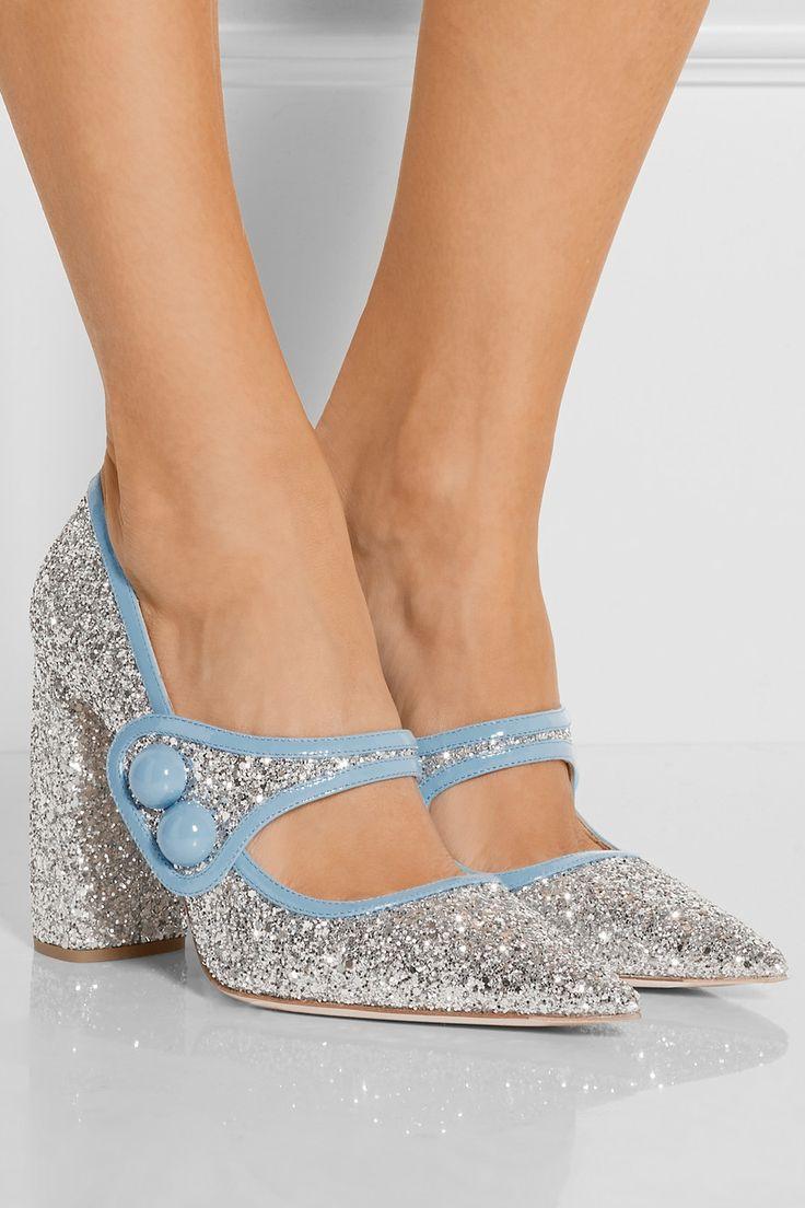 Miu Miu|Glittered patent-leather Mary Jane pumps|NET-A-PORTER.COM