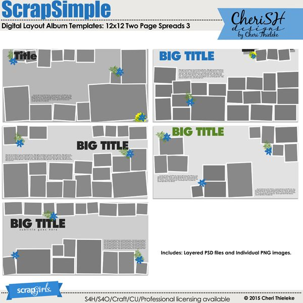 287 best 12x12 scrapbook sketches images on pinterest scrapbook scrapsimple digital layout album templates 12x12 two page spreads 3 by cheri thieleke pronofoot35fo Gallery
