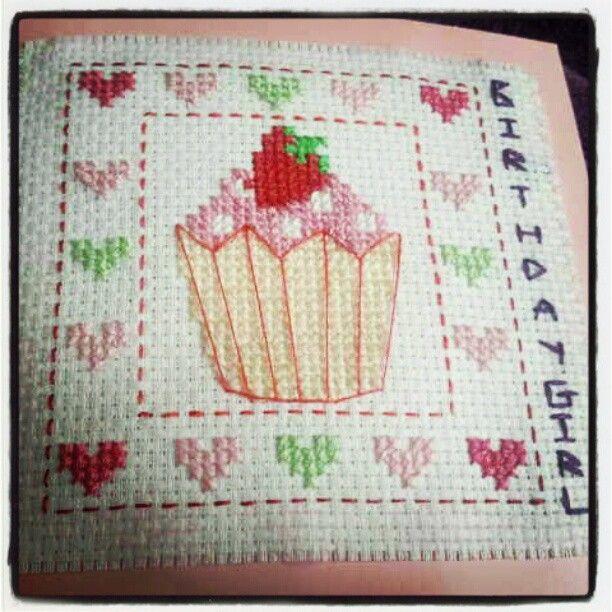 cupcake cross stitch birthday card