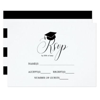Graduate Cap Graduation Party Typography RSVP Invitation