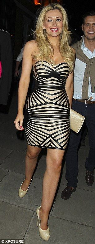Structured leatherette strapless bandage dress as seen on Gemma Merna: http://www.misscircle.com/Dresses/Bandage-Dress/Strapless/Sexy-Beige-and-Black-Leatherette-Bodycon-Party-Bandage-Dress.html