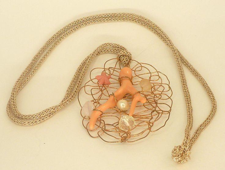 Κολιέ μακρύ με κοράλλι και κρύσταλλα Swarovski