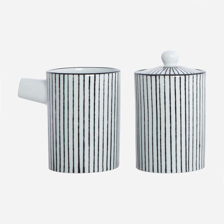 Pen Stripe Milk Jug + Sugar Bowl £11. - RoyalDesign.co.uk
