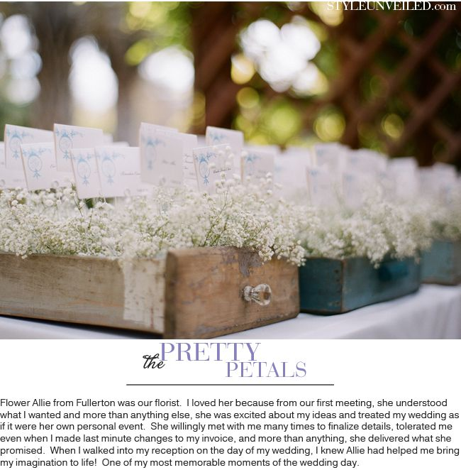 Vintage rustic escort cards #baby's breath and vintage drawers - Soft Color Palette