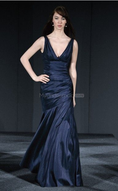 Ink Blue Taffeta Sheath V-neck Floor-length Bridesmaid Dresses(NZBD06174)