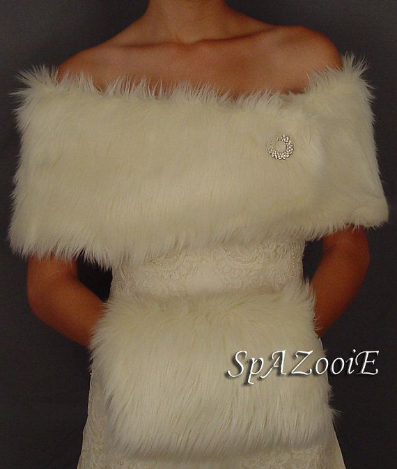 Ivory feather faux fur wedding shrug stole shawl by SpAZooiEBridal, $49.99