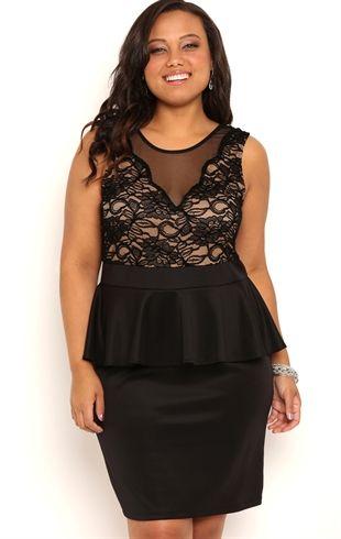 Plus Size Short Peplum Homecoming Dress with Illusion Nude Bodice