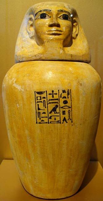 Example of a Middle Kingdom canopic jar from Harageh, tomb 92.