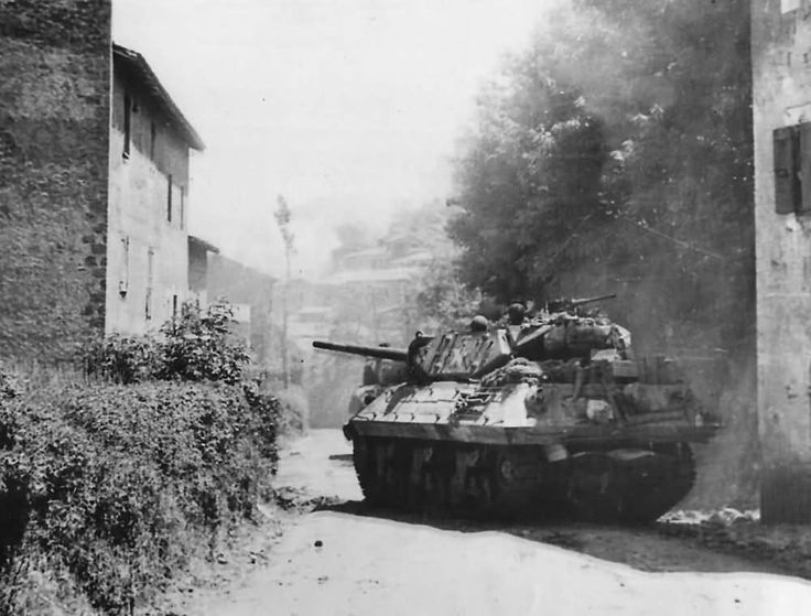 M10 Tank Destroyer Moves Into Artena Italy 1944