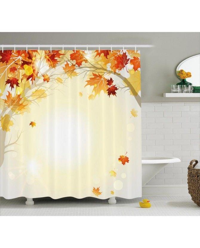Fall Decor Shower Curtain Autumn Leaves Tree Print For Bathroom Ve Dier Fon Perde Modelleriyle Cretsiz Kargo Uygun Fiyata Orange Venueda