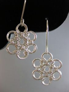 Free Chainmail Patterns Chain Maille | Japanese Flower Chain Maille Jewelry Pattern Earrings
