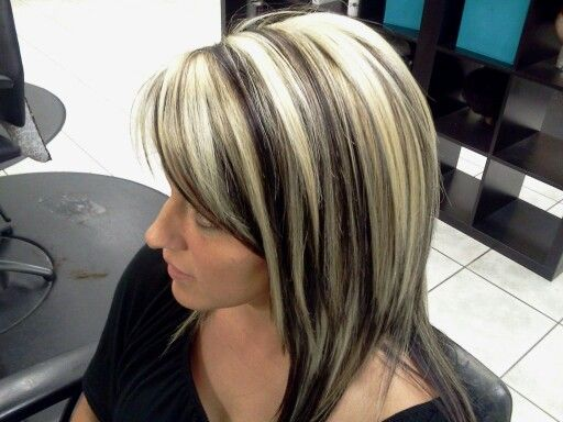 Platinum Highlights And Dark Brown Lowlites Hair Blonde