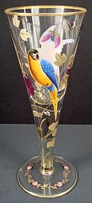 Antique Bohemian Enameled Goblet with Parrots produced in Bohemia by an unknown company