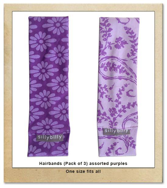 Sillybilly girls hairbands purple