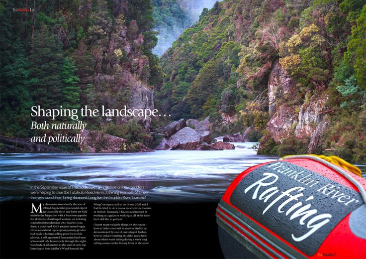 In the September issue of ThePaddler, we ran a feature on how paddlers were helping to save the Futaleufu River. Here's a shining example of a river that was saved from being dammed. Long live the Franklin River, Tasmania!  Read Duke Peterson's article in the October issue of ThePaddler ezine at: http://joom.ag/ekuX