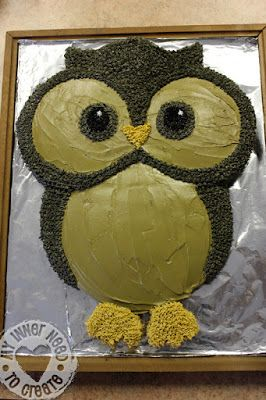 Owl Cake made from Round Cake Pans-Perfect way to celebrate your wise students!