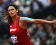 Paraguay's Leryn Franco competes in the women's javelin throw qualification at the London 2012 Olympic Games