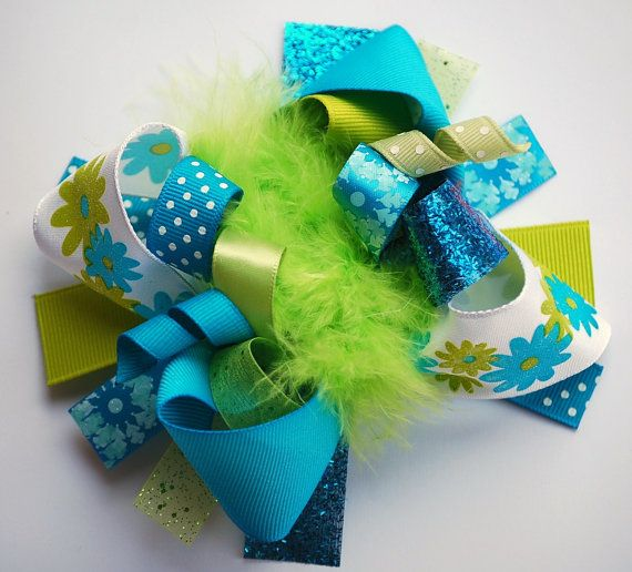 boutique FUNKY fun TURQUOISE and LIME hair bow clip by andjane, $12.99